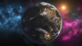 从空间的现实行星地球 行星地球上,有变动的日夜 五颜六色的银河动画 要素 皇族释放例证