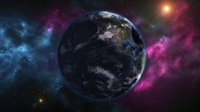 从空间的现实行星地球 行星地球上,有变动的日夜 五颜六色的银河动画 要素 库存例证