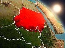 从空间的苏丹在日出期间 免版税库存图片