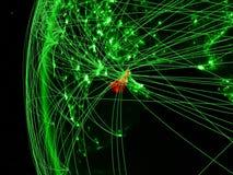 从空间的阿拉伯联合酋长国在地球绿色模型与国际网络的 绿色通信或旅行的概念 3d 皇族释放例证