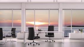 从窗口的看法在晚上日落的营业所在海水 背景板材,色度关键录影背景 股票视频
