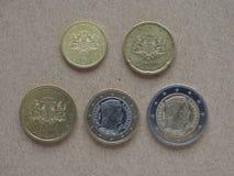 从立陶宛的欧洲硬币 免版税图库摄影