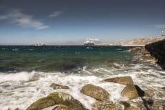 从米科诺斯岛镇港口希腊的看法 库存照片
