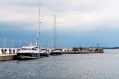 从索波特小游艇船坞的场面 库存照片