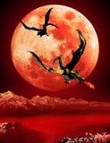 从红色月亮的龙 库存例证