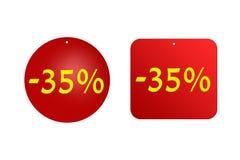 从红色贴纸的35%在白色背景 折扣和销售、假日和教育 库存照片