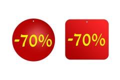 从红色贴纸的70%在白色背景 折扣和销售、假日和教育 免版税库存照片