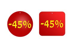 从红色贴纸的45%在白色背景 折扣和销售、假日和教育 库存图片