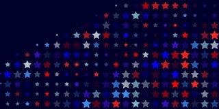 从红色,蓝色,白色星的抽象背景 库存照片