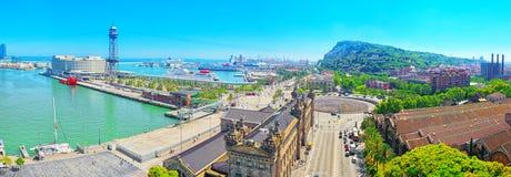 从纪念碑的全景到Barcel的克里斯托弗・哥伦布 免版税库存照片