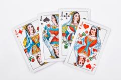 从纸牌的四位女王/王后 免版税图库摄影
