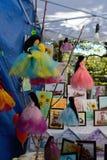 从纺织品的手工制造玩偶在许多颜色 图库摄影