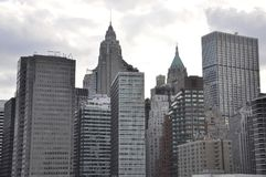 从纽约的东部曼哈顿摩天大楼在美国 库存照片