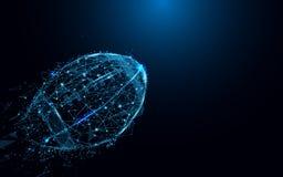 从线和三角,在蓝色背景的点连接的网络的抽象橄榄球球 免版税库存照片