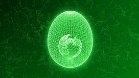 从线和点形成的鸡蛋,与行星地球里面,抽象动画 股票录像