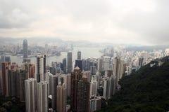 从维多利亚峰顶的香港地平线 免版税库存图片