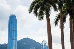 从维多利亚港口的香港地平线 库存照片