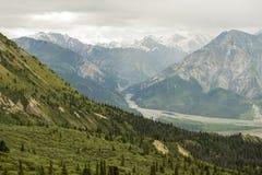 从绵羊小河足迹的山景在Klaune国家公园 库存图片