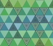 从绿色和蓝色三角的几何无缝的样式 库存例证