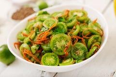 从绿色蕃茄的韩国沙拉 免版税库存照片