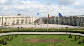 从罗马尼亚议会宫殿的视图 免版税图库摄影