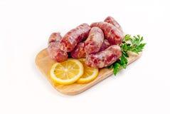 从羊肉、猪肉&牛肉的香肠 免版税库存图片