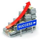 从美元钞票的生长长条图与成功标志 免版税库存照片