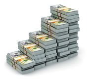 从美元钞票的生长长条图 图库摄影