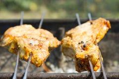 从肉的烤肉串在木炭准备 肉片在串 免版税库存图片