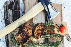 从肉的煮熟的牛排 库存照片