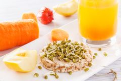 从自然产品的有用的早餐 在一个喘气的麦子蛋糕的发芽的五谷 新鲜的苹果和红萝卜,新鲜的汁液 库存图片