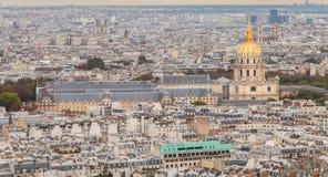 从艾菲尔铁塔的鸟瞰图旅馆des的Invalides 库存图片