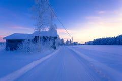 从芬兰的冬天风景 免版税图库摄影