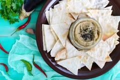 从茄子的清淡的饮食头脑 酵母酒蛋糕ganush是一个亚洲盘 库存图片