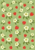 从草莓和花的背景 免版税库存图片