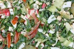 从菜、鸡蛋和螃蟹棍子的沙拉 库存照片