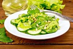 从菠菜和黄瓜的沙拉与叉子在船上 库存图片