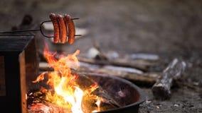 从营火的香肠 库存图片