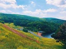 从萨维尔水坝的夏天视图 免版税库存图片