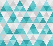 从蓝色三角,马赛克的几何无缝的样式 库存例证