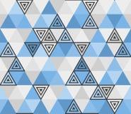 从蓝色三角,马赛克的几何无缝的样式 皇族释放例证