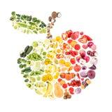从蔬菜和水果的拼贴画以苹果的形式,被隔绝 免版税库存图片