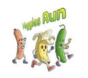 从蛇神香肠和黄瓜跑的香蕉 素食者跑与文本 免版税库存照片