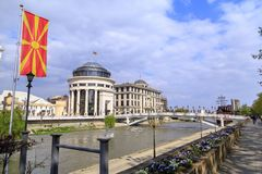 从街市斯科普里,马其顿首都的看法 库存照片