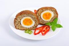 从被充塞的切好的肉的水多的炸肉排煮沸了在一块陶瓷板材的鸡蛋 免版税库存照片