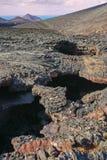 从被引导的游览Termesana路线的看法在Timanfaya国民同水准 库存图片