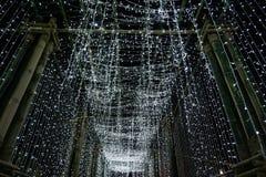 从装饰竹隧道的Bokeh光在清迈 免版税图库摄影