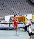 从西班牙的Didac Salas在撑竿跳高竞争 免版税库存照片