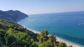 从西罗洛Conero,马尔什意大利的自然风景视图 免版税库存照片