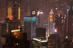 从观察台的晚上香港 免版税库存照片